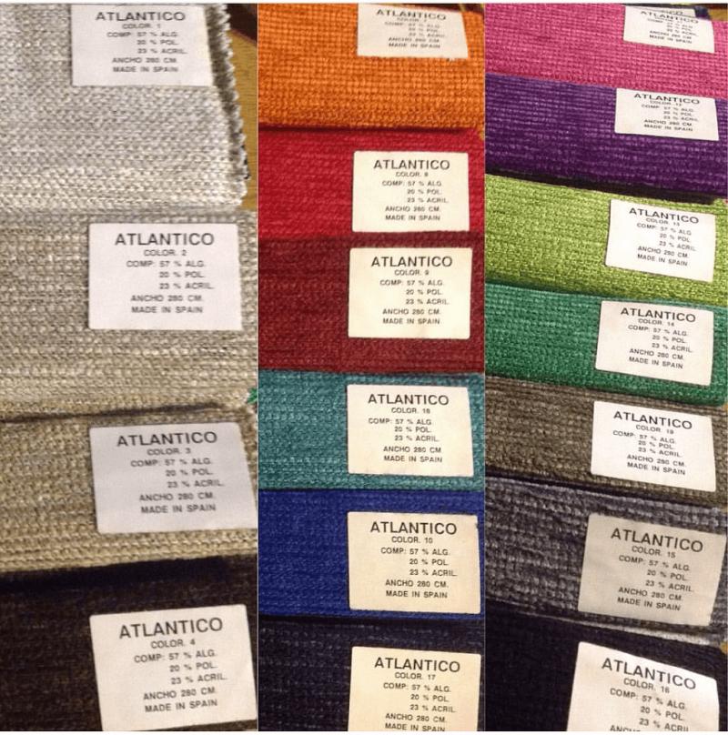Colores de telas en chenilla para fundas de colchones.