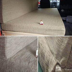 Unión trasera en colchón para asiento